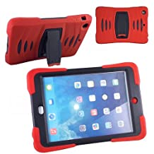 Xtra-Funky Range iPad Mini 4 Heavy Duty Dual Layer Silicon and Plastic Shock Absorbing Ultimate Protective Case with Built in Stand and Protective Screen layer - RED
