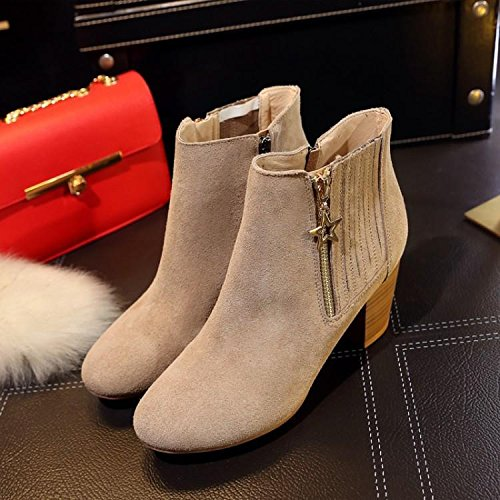 ankle round leather women's matte heeled boots 7660CM LILAC high NSXZ shoes Leather boots xnzB0CwIqH