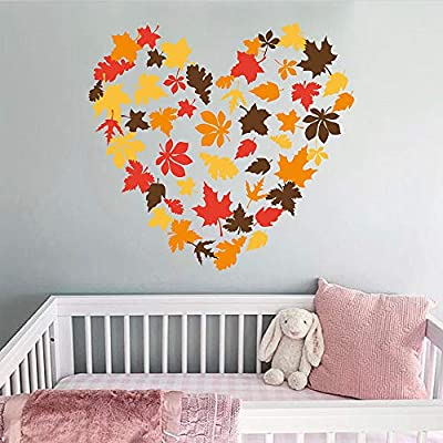 decalmile Maple Leaf Wall Decals Autumn Fall Leaves Wall Stickers Living Room Bedroom TV Wall Art Decor
