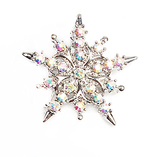 Crystal Shiny Brooch Pin - VK Accessories Snowflake Brooch Pin Shiny Crystal Breastpin for Xmas