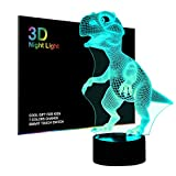 Wiscky WKUSNL-ND009 3D Children Kids Night Lamp, Dinosaur Toys for Boys, 7 LED Colors Changing Lighting, Touch USB Charge Table Desk Bedroom Decoration, Cool Gifts Ideas Birthday Xmas for Baby Friends