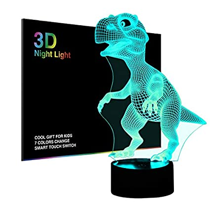 3D Night Lights for Children, Kids Night Lamp, Dinosaur Toys for Boys, 7 LED Colors Changing ...