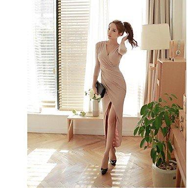 PU&PU Robe Aux femmes Gaine Simple,Couleur Pleine Col en V Maxi Polyester , pink , s