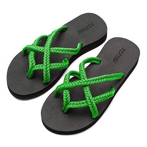 FZFHSJ Flip Flops Sandal for Women(Dark Green 8) - Green Flip Flops Sandals