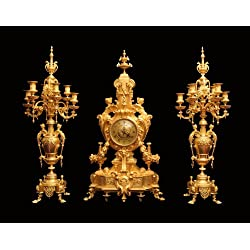 A Stunning 19th Century Barbedienne Style, Napoleon III Gold Plated Bronze Mantel Clock and Two, 6-candle Matching Candelabra (Circa: Early 1800s) !!