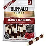 Buffalo Range Rawhide Dog Treats | Healthy, Grass-Fed Buffalo Jerky Raw Hide Chews | Hickory Smoked Flavor | Jerky Kabob, 18 Count