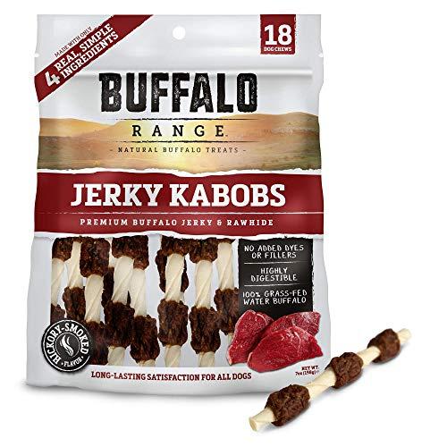 Buffalo Range Rawhide Dog Treats | Healthy, Grass-Fed Buffalo Jerky Raw Hide Chews | Hickory Smoked Flavor | Jerky Kabob, 18 Count ()