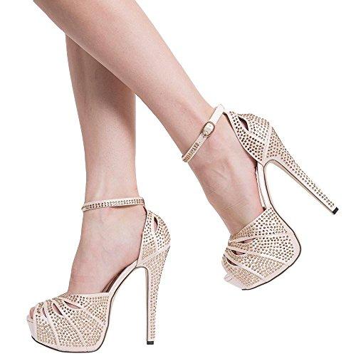 Platform Sandals Studded Peep Toe Cutout High Heel Dress Shoes Pink Womens haWY9u