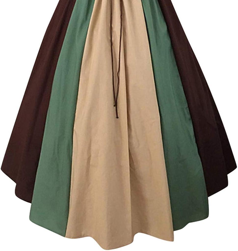 UNSKAM Women Medieval Dress Vintage Long Sleeve Dress Flared Sleeves Retro Fancy Dress Costume Contrast Color Stitching Flying Sleeves Tie Waist Waist Swing Skirt One Word Shoulder Dress Skirt