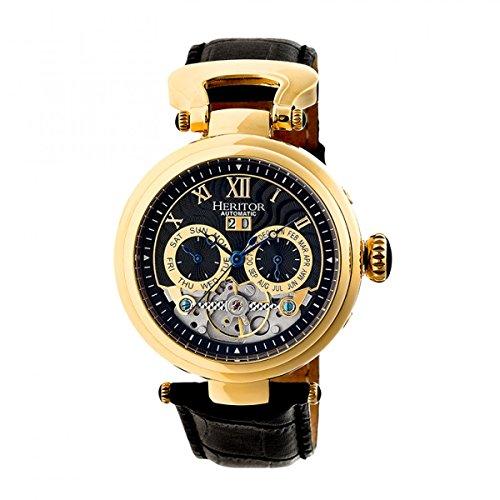 Heritor Automatic HERHR3304 Ganzi Black/Gold Leather Band Watch