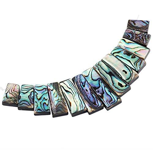 Green Paua Abalone Shell (SUNYIK Paua Abalone Shell Flat Bar Loose Beads Set (Size)