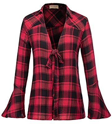 Kate Kasin Women's Ruffles Blouse Bell Sleeve Tie Knot Plaid Tops