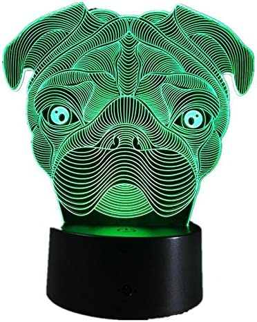 Pug Dog LED Night Light 7Color Changing French Bulldog Sharpei Dog Table Lamp Animal Lights Kids Gift Home Decor