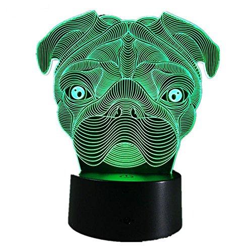 Pug Dog LED Night Light 7Color Changing French Bulldog Sharpei Dog Table Lamp Animal Lights Kids Gift Home ()