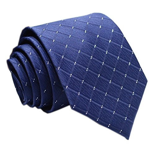 Mens Navy Blue Silk Ties Jacquard Woven Diamond Plaids Gentlemen Necktie Gifts