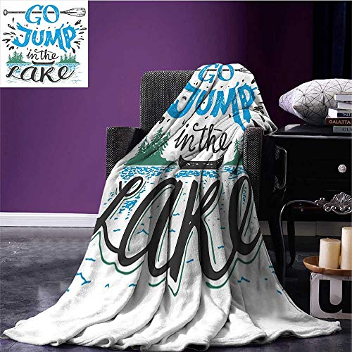 Cabin Decor Printing Blanket Vintage Typography Inspiration Quote Lake Sign Canoe Fishing Sports Theme Print Artwork Blue Black Green Bed or Couch 60