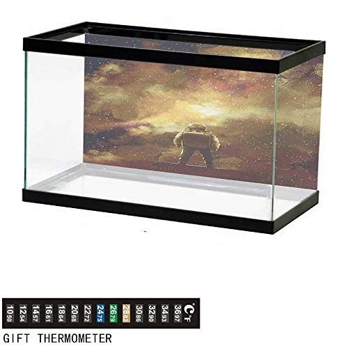(wwwhsl Aquarium Background,Fantasy,Cosmonaut Person Standing Against Cosmos Nebula Themed Solar Themed Artwork Print,Tan Black Fish Tank Backdrop 36