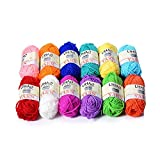 LIHAO Crochet Yarn Acrylic Set Sewing Thread Coloured (12pcs, 26m/roll)