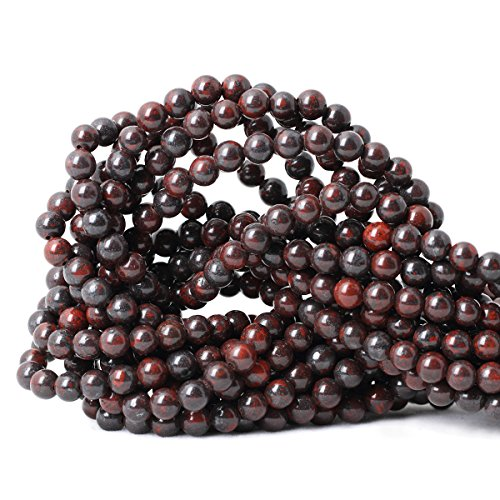 Qiwan 60PCS 6mm Natural Brecciated Jasper Gemstone Round Loose Beads for Jewelry Making 1 Strand 15