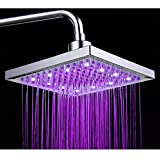 PowerLead SH001 Bathroom Temperature Sensor 3 Color-Changing LED Overhead Shower Head 3 Color-Changing LED Overhead Shower Head