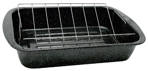 Pan Roaster Enamel (Granite Ware Open Rectangle Roaster with Non-Stick V-Rack, 18.5-Inch)