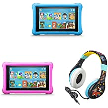 All-New Fire HD 8 Kids Edition Tablet 2-pack - Blue/Pink, with Wreck It Ralph 2 Kids Headphones