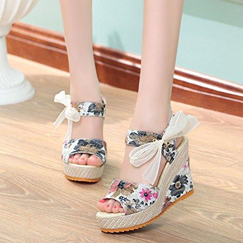 a Pescado Sandalias Peep Cabeza Con Encaje Dulce Mujer Cu De Tac Zapatos Toe Verano Minetom Floral Arco qO1zv