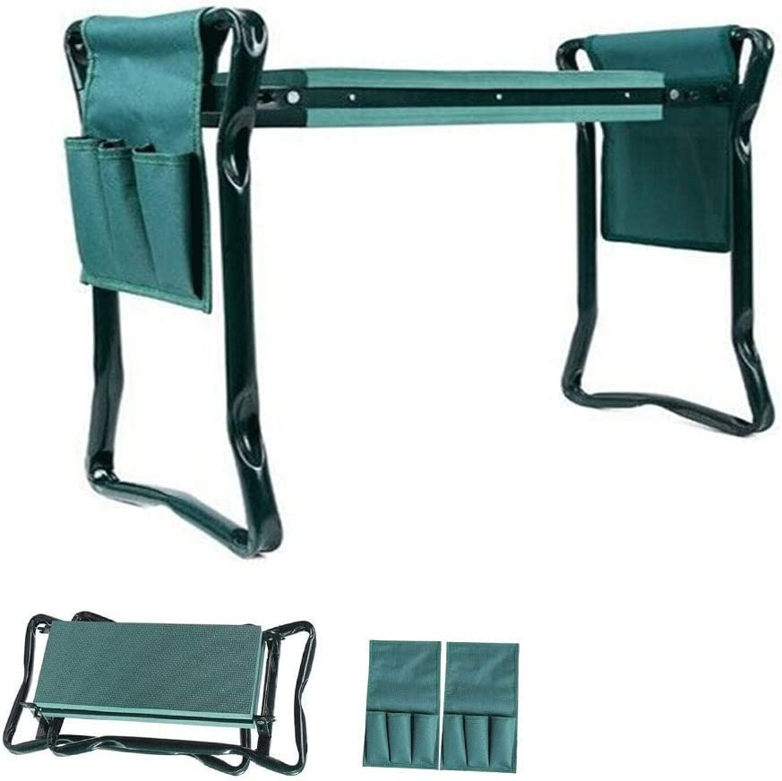 T-NewTop Folding Garden Kneeler Seat Bench with 2 Free Tool Pouches, EVA Foam Pad Protects Your Knees, Sturdy and Lightweight 150kg/330.69lb Maximum Capacity