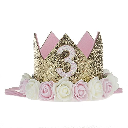 Baby Princess Tiara Crown, Baby Girls/Kids First Birthday Hat Sparkle Gold Flower Style with Artificial Rose Flower (3st Golden Crown)]()
