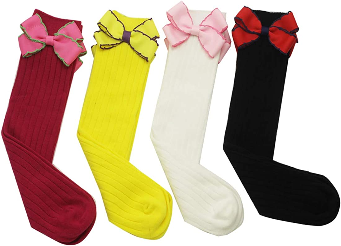 Baby Girls Uniform Knee High Socks Bowknot Tube Stockings Infants Toddlers Party School Cotton Long Stockings Red