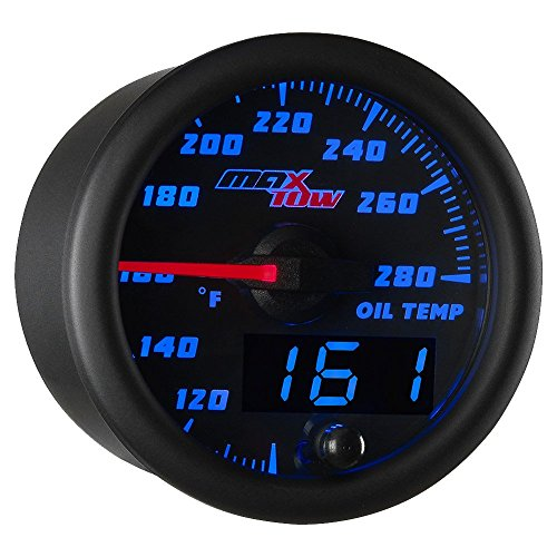 (MaxTow Double Vision 280 F Oil Temperature Gauge Kit - Includes Electronic Sensor - Black Gauge Face - Blue LED Illuminated Dial - Analog & Digital Readouts - for Trucks - 2-1/16