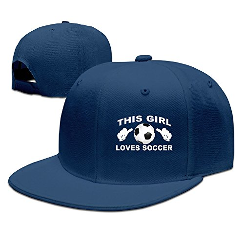 This Girl Loves Soccer Design Baseball Snapback Cap Navy