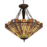 Chloe Lighting CH36432MS24-UH3 Tiffany Saxon - Tiffany-Style 3 Light Mission Inverted Ceiling Pendant Fixture 24