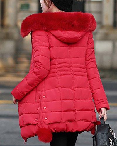 con Elegante Outwear Chaqueta Algodón Capucha De De Rojo Abrigo Mujer DianShao Cremallera Larga wpBvvf