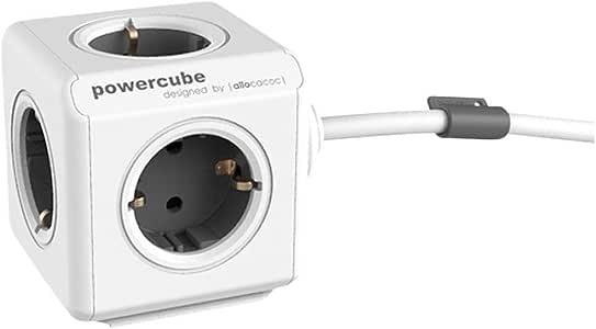 Allocacoc PowerCube Extended, Ladrón multiple con 5 enchufes en forma de cubo, 250V, color blanco y gris