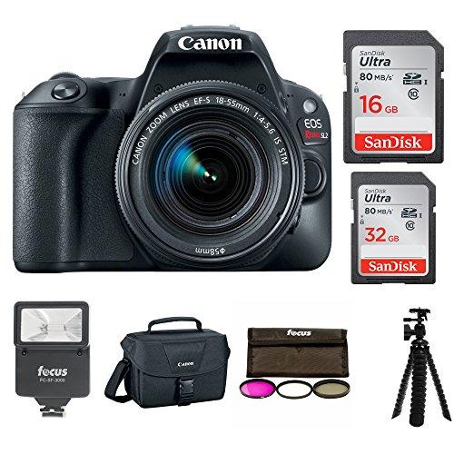 Canon EOS Rebel SL2 SLR Camera w/18-55mm f/4 STM Lens + Canon DSLR Bag, 48GB, Filter Kit, Flash & Bundle