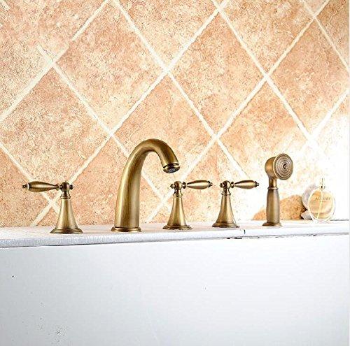 Aawang Waschbecken Armaturen Messing Antik Deck 5 Löcher Badewanne Armatur Wasserhahn Mit Abnehmbarem Duschkopf Verbreitete Bad Armatur Set Leitungswasser