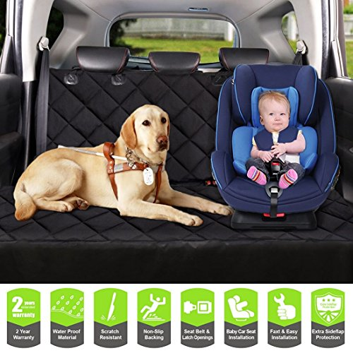 COSMOPLUS Dog Car Seat Covers Pet Seat Covers for Cars,Dog Car Hammock Bench Convertible,Quilted,Padded,Waterproof,Scratch Proof,Nonslip,Universal Fit