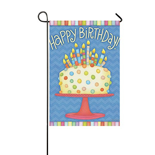 llyaon.iao Happy Birthday Garden Flag Cake Candles & Best fo