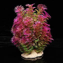 Aquarium Decoration - SODIAL(R) Artificial Plant 15-20 cm Aquarium Decoration Water Plant purple + green