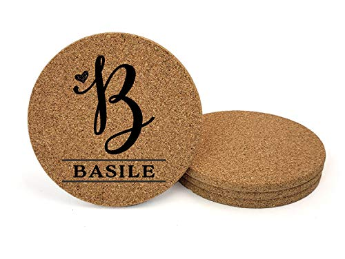 - Custom Engraved Monogram Initial Natural Cork Coasters, Set of Four, Style 1010 (Cork, 4