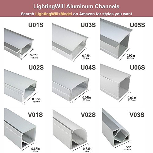 LightingWill 20-Pack V-Shape LED Aluminum Channel 6.6ft/2M Anodized Silver Corner Mount Extrusion for <12mm width SMD3528 5050 LED Strips with Vertical Cover, End Caps and Mounting Clips V01S2M20 by LightingWill (Image #7)