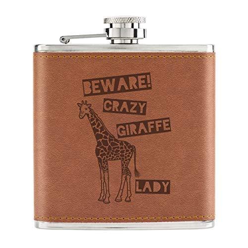 Beware Crazy Giraffe Lady 6oz PU Leather Hip Flask Tan