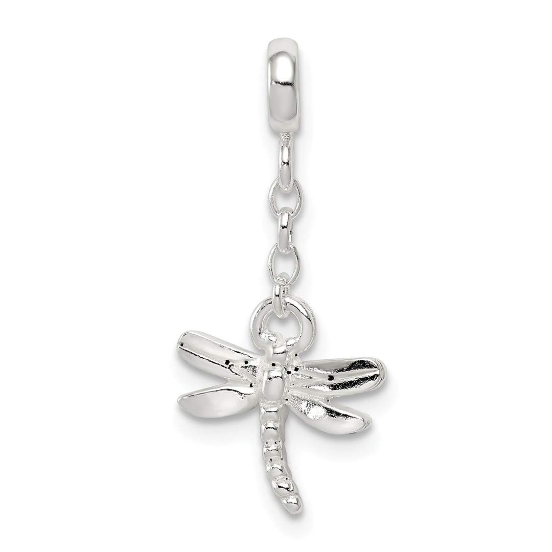 ICE CARATS 925 Sterling Silver Dragonfly 1/2in Dangle Enhancer Necklace Pendant Charm Insect Fine Jewelry Ideal Gifts For Women Gift Set From Heart