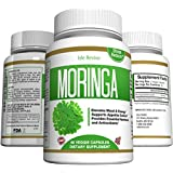 Moringa Oleifera Leaf Powder Capsules - Natural Appetite Suppressant for Weight Loss, Energy, Superfood for Mental Clarity, Decreased Stress and Immune Vitality, 60 Veggie Caps Made in USA