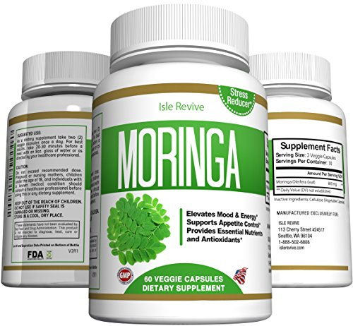 Moringa Oleifera Leaf Powder Capsules - Natural Appetite Suppressant for Weight Loss, Energy, Superfood for Mental Clarity, Decreased Stress and Immune Vitality, 60 Veggie Caps Made in USA by Emma