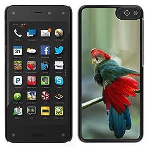 """Snap-on Series Teléfono Carcasa Funda Case Caso para Amazon Fire Phone 4.7 , ( Plumas del trullo rojo azul Pájaro tropical"""" )"""
