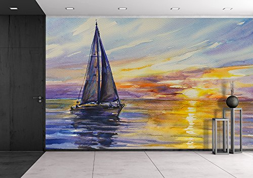Yacht Sailing Against Sunset Picture Created with Watercolors
