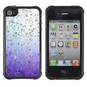"Hypernova Defender Series TPU protection Cas Case Coque pour Apple iPhone 4 / iPhone 4S [Purple Raindrops Vidrio Agua Primavera triste""]"