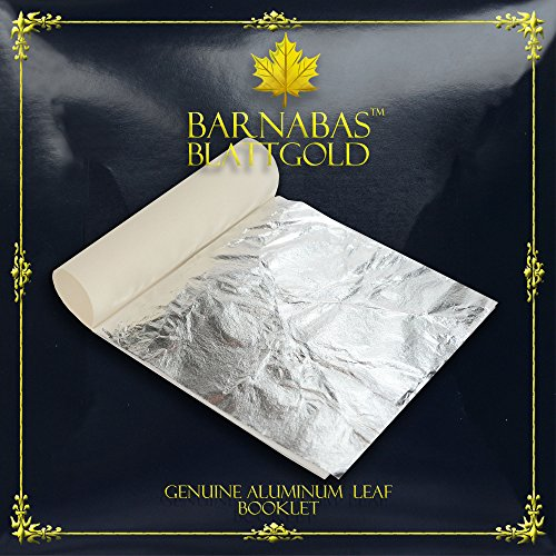 Imitation Silver Leaf Sheets - by Barnabas Blattgold - Made from Aluminum - 25 Sheets - 5.5 inches Booklet